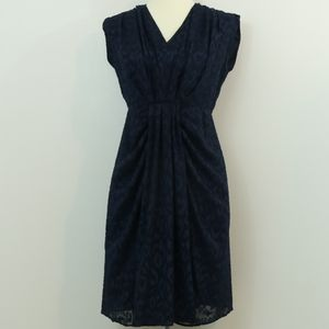 Maggy London Navy Leopard Embossed Gathered Dress